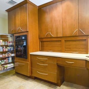 Remodeling to age in place can include installing pull-out kitchen cabinets, a walk-in bathtub or a dishwasher that minimizes the need to bend.  Photos courtesy of National Association of Home Builders and Chuck Tanner