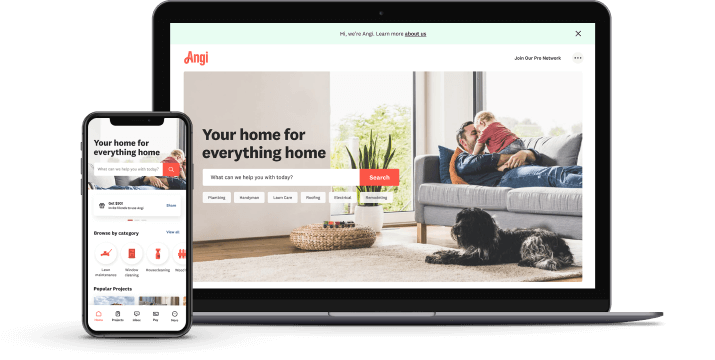 Angi is available on the web and mobile devices