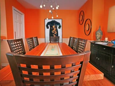 dining room painted bright orange
