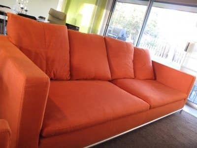 A red couch in living room