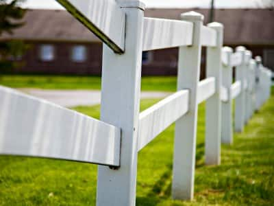 white split rail wood fence