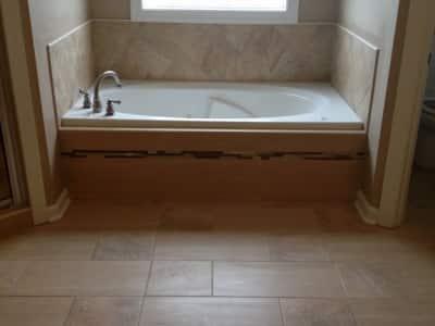 Tile flooring in a bathroom