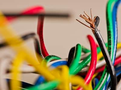jumble of colored electrical wires