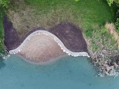 A landscaped lakeshore