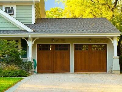 Double sized wooden garage door