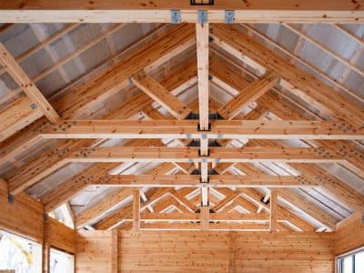 Roof with king post trusses