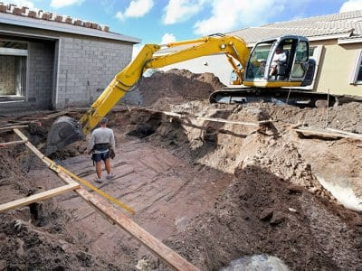 Pool excavation with equipment