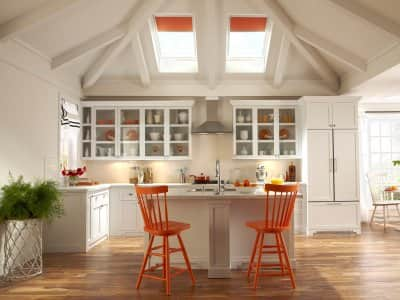 skylights above kitchen countertop