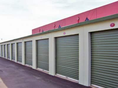 row of individual storage units in one facility