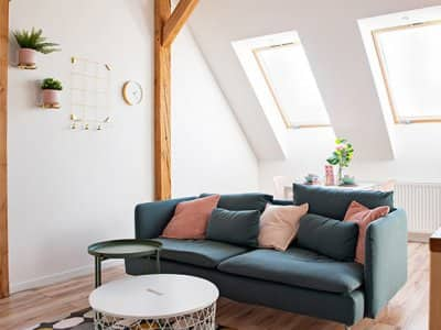 Cosy living room in an attic