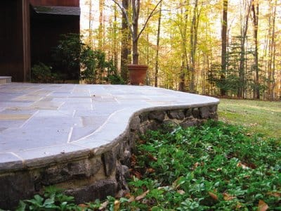 a stone deck of a house