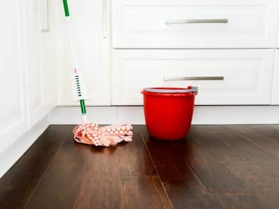 hardwood floors, mop, bucket
