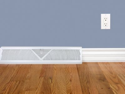 Bedroom wall with heating register, baseboard, electrical outlet and hardwood floor