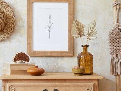 Boho inspired decor on dresser