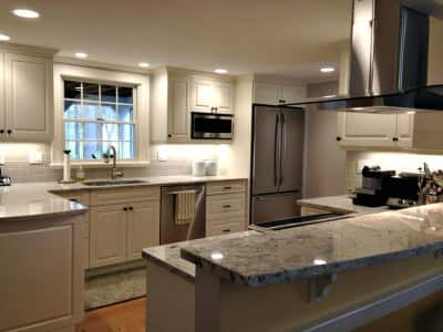 kitchen cabinets, kitchen remodel, kitchen lighting, island hood, island, stainless steel appliances,