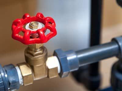 Detailed shot of a shut-off water valve