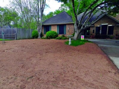 front yard with no grass