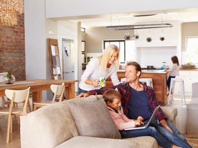 Family in open concept house