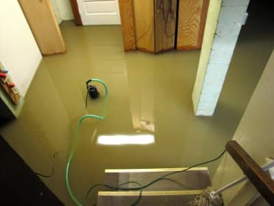 water in flooded basement