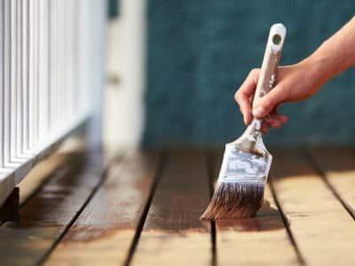 Hand staining deck dark brown