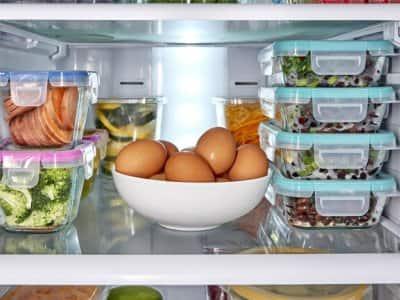inside of fridge with food