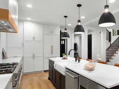 Interior of a modern kitchen with pendant lights