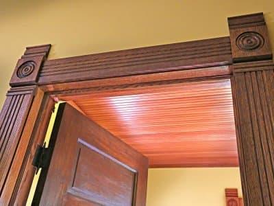 door trim and beadboard ceiling
