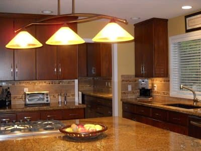 hanging lighting in home's kitchen