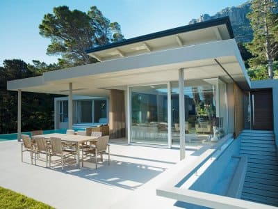 Modern home with a large concrete patio