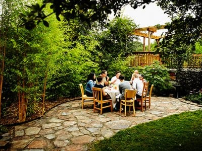 Dinner party on a flagstone patio
