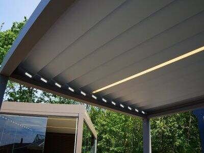 view from below of smart pergola with adjustable slats