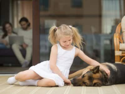 Girl petting dog on porch