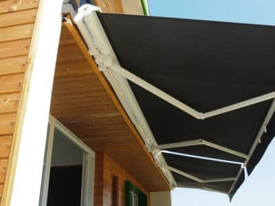 retractable patio awning in backyard