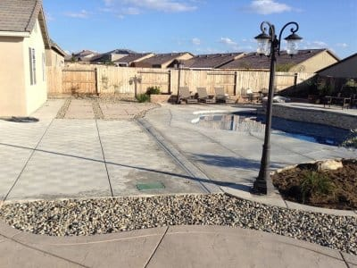 sustainable backyard concrete rock