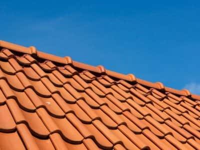 roof tile pattern, close up, over blue sky