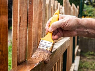 Stain wood fence