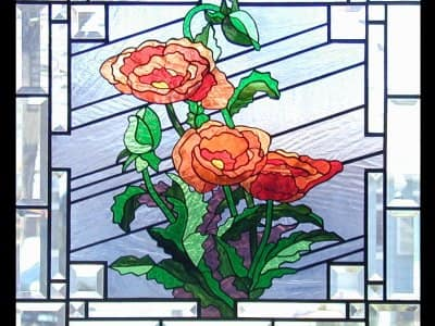 stained glass window with beveled glass