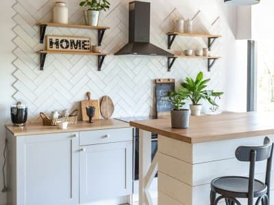 Cute white and wood kitchen