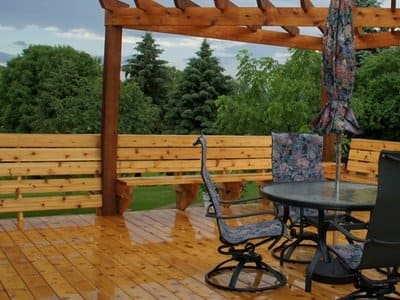 deck with dining set