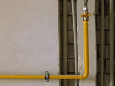 yellow home gas line basement