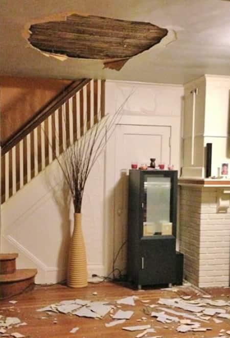 Ceiling collapses after bathroom plumbing pipe leak