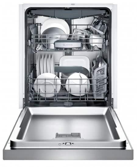 Bosch SHE68T55UC dishwasher, door fully open, racks loaded.