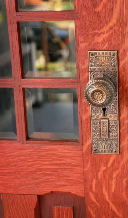 A finished door with brass knob by Greg Doublestein of The Front Gate in Indianapolis