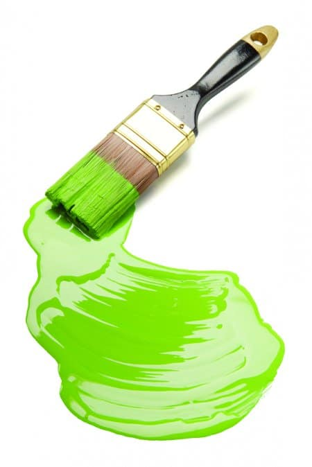 paintbrush with green interior paint