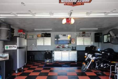 Harley Davidson-themed Man Cave