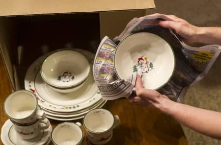 packing holiday dishes