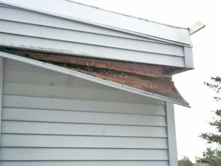water damaged soffit on roof