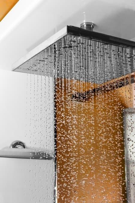 Close up of rain-style shower head