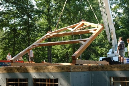 timber frame home under construction (Photo by Brandon Smith)