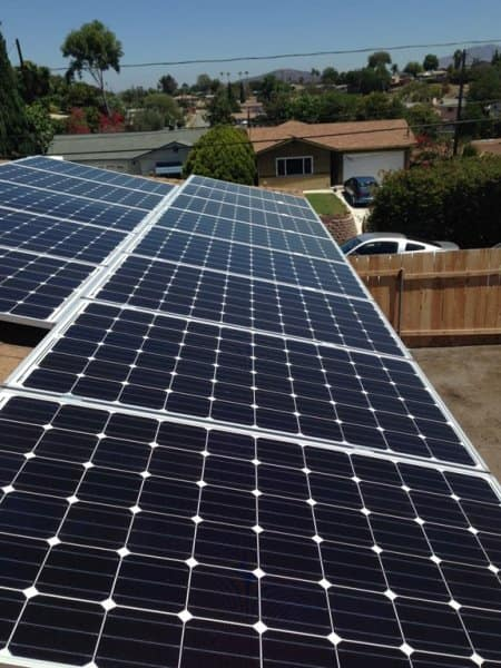 Row of solar panels on the roof of a San Diego-area home